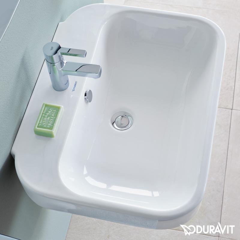 Duravit waschbecken eckig  Duravit Happy D.2 Waschtisch weiß Wondergliss mit 1 Hahnloch ...