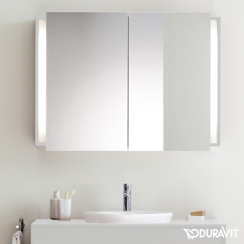 Duravit Ketho Spiegelschrank mit Beleuchtung weiß matt ... | {Spiegelschrank mit beleuchtung und ablage 77}