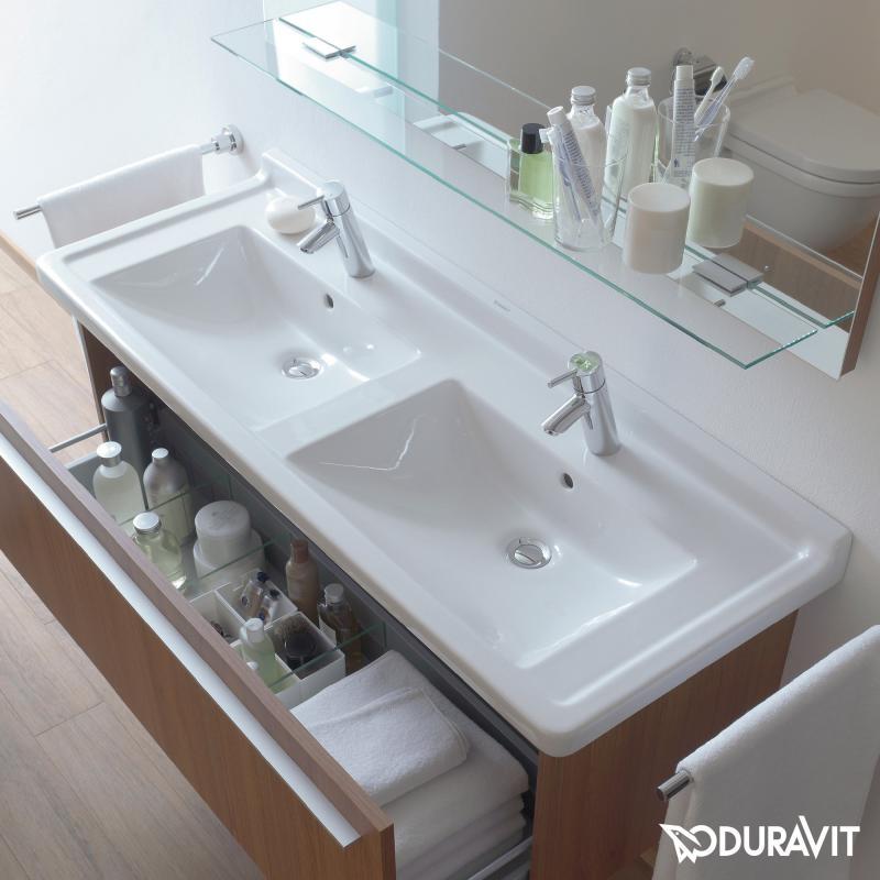 Doppelwaschtisch duravit  Duravit Starck 3 Doppelwaschtisch weiß, mit 2 Hahnlöchern ...