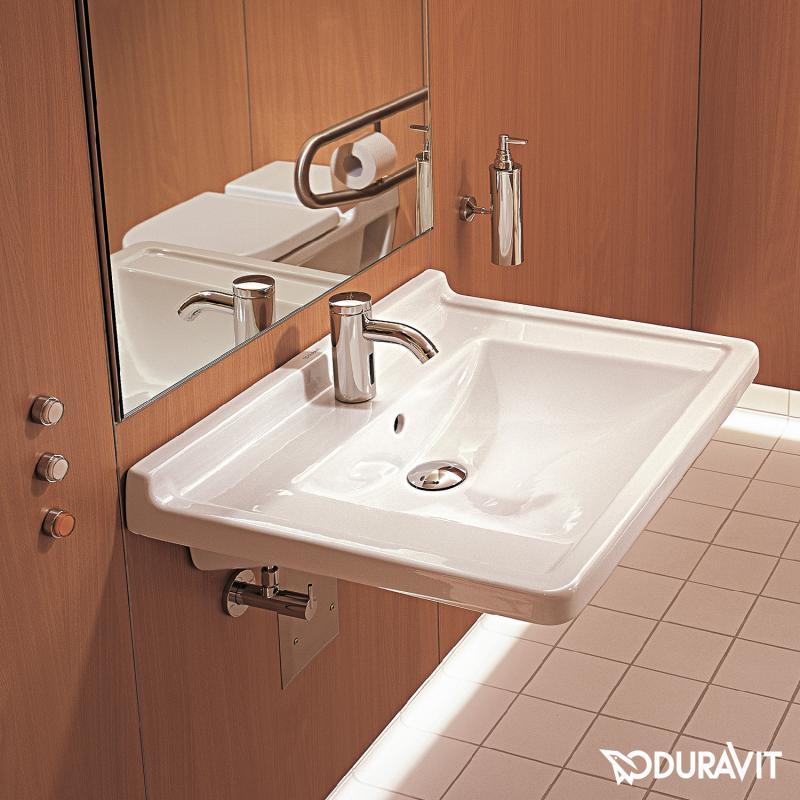 duravit starck 3 waschtisch vital barrierefrei wei mit wondergliss mit 1 hahnloch. Black Bedroom Furniture Sets. Home Design Ideas