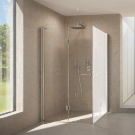 Duscholux Bella Vita 3 Drehfalttür für Eckeinstieg für Montage auf gefliestem Boden silber, ESG