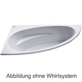 Duscholux MALAGA Eck Badewanne Whirlpool, Ab- und Überlaufgarnitur, Fußgestell