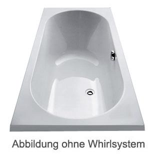 Duscholux Ancona Rechteck Badewanne Whirlpool, Ab- und Überlaufgarnitur, Fußgestell