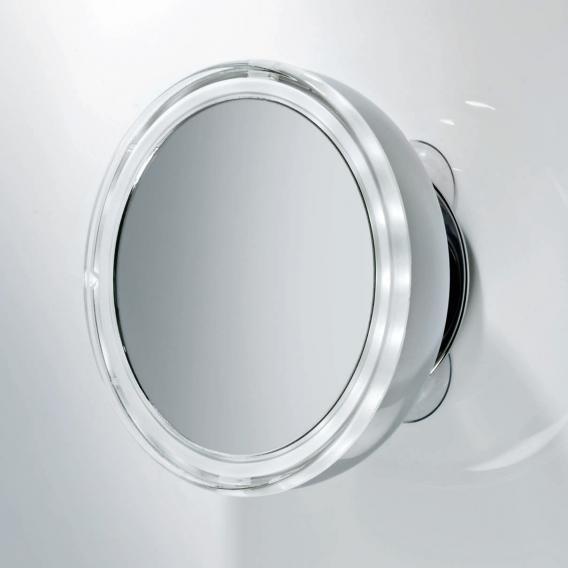Decor Walther BS 10 Kosmetikspiegel mit Saugnäpfen und beleuchtet, Leder Etui weiß