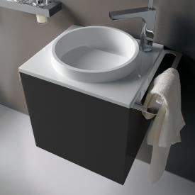 Emco Asis Handwaschbecken mit Waschtischunterschrank mit 1 Tür schwarz, mit 1 Hahnloch