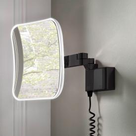 Emco Evo LED Rasier- und Kosmetikspiegel mit Spiralkabel, Stecker und emco light system schwarz