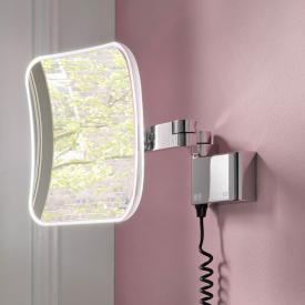 Emco Evo LED Rasier- und Kosmetikspiegel mit Spiralkabel und Stecker chrom
