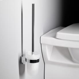 Emco Mundo Toilettenbürstengarnitur Behälter Opalglas satiniert, Wandmodell chrom