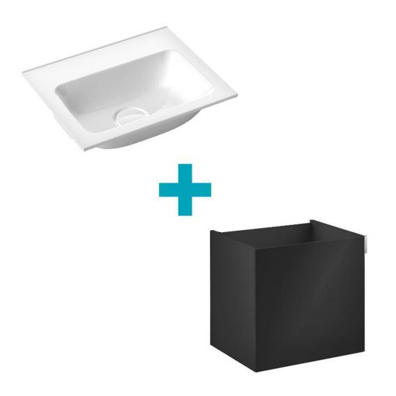 Emco Asis Handwaschbecken mit Waschtischunterschrank mit 1 Tür Front schwarz / Korpus schwarz hochglanz, ohne Hahnloch