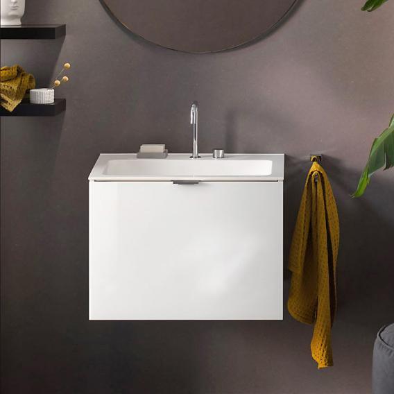 Emco Asis Waschtisch mit Waschtischunterschrank mit 1 Auszug Front optiwhite / Korpus weiß hochglanz, mit 2 Hahnlöchern