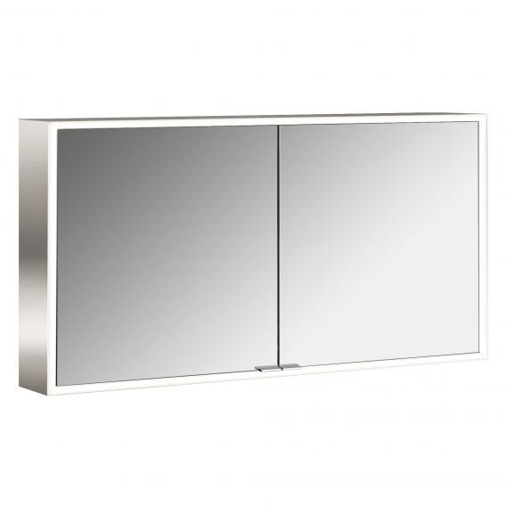 Emco Prime Aufputz LED-Lichtspiegelschrank, 2 Türen aluminium/weiß
