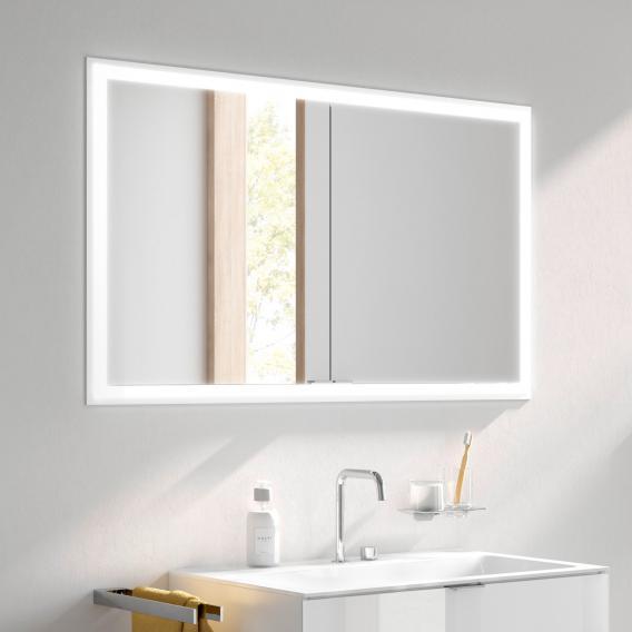 Emco Prime Unterputz LED-Lichtspiegelschrank, 2 Türen aluminium/verspiegelt