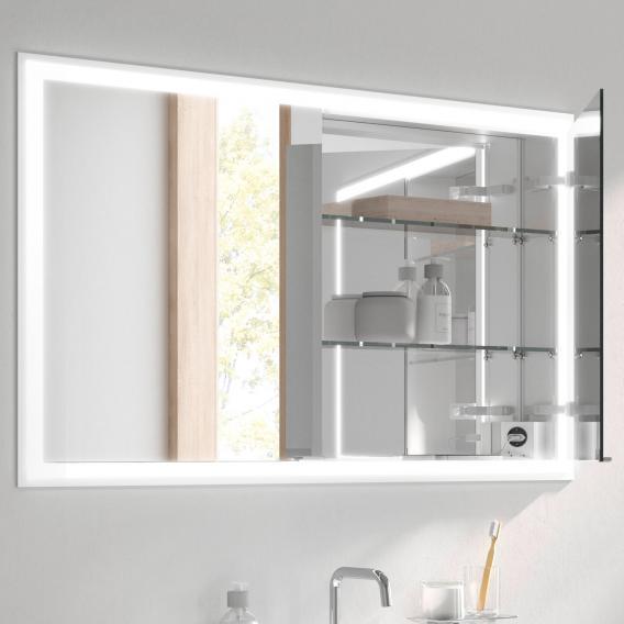Emco Prime Unterputz LED-Lichtspiegelschrank mit Lichtpaket, 2 Türen aluminium/verspiegelt