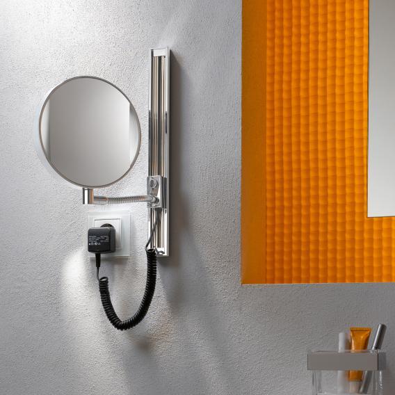 Emco Universal LED Rasier- und Kosmetikspiegel, rund, Wandmodell, mit Gleitschiene