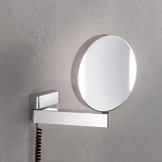 Emco Universal LED Rasier- und Kosmetikspiegel mit Spiralkabel und Stecker chrom