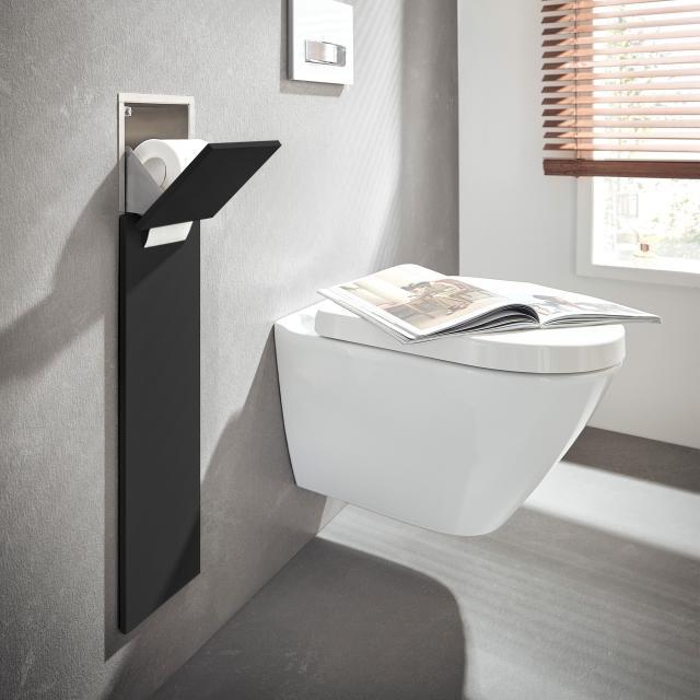 Emco Asis Pure Unterputz-WC-Modul mit Ersatzrollenfach schwarz matt