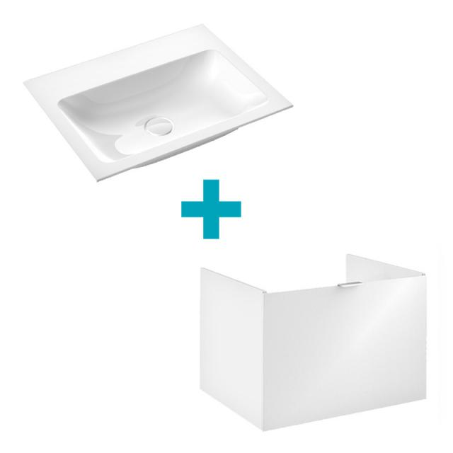 Emco Asis Waschtisch mit Waschtischunterschrank mit 1 Auszug Front optiwhite / Korpus weiß hochglanz, ohne Hahnloch