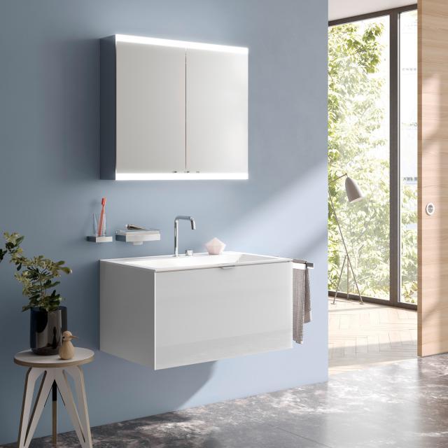 Emco Evo Aufputz Spiegelschrank mit LED-Beleuchtung aluminium, mit light system, mit Spiegelheizung