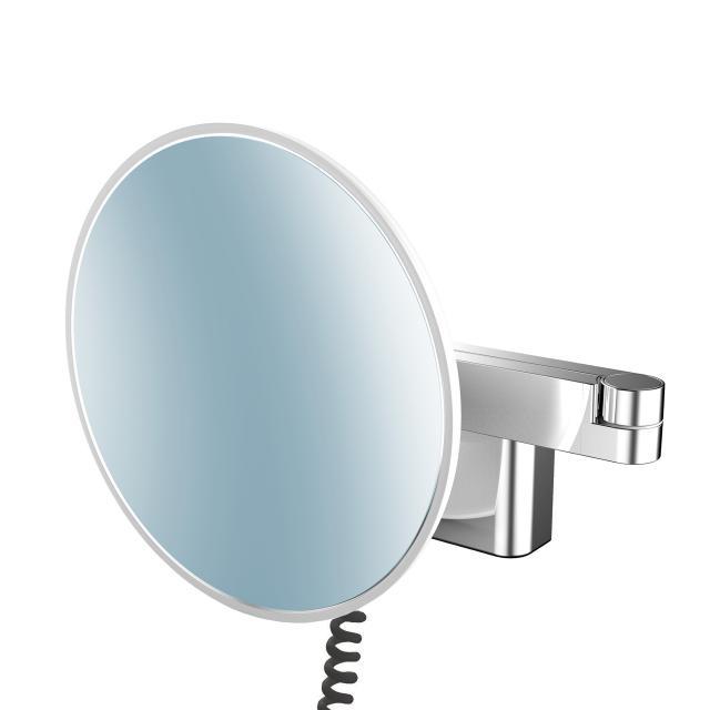 Emco Evo LED Rasier- und Kosmetikspiegel mit Spiralkabel, Stecker und emco light system chrom