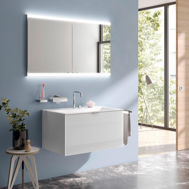 Emco Evo Unterputz Spiegelschrank mit LED-Beleuchtung aluminium, mit light system, mit Spiegelheizung