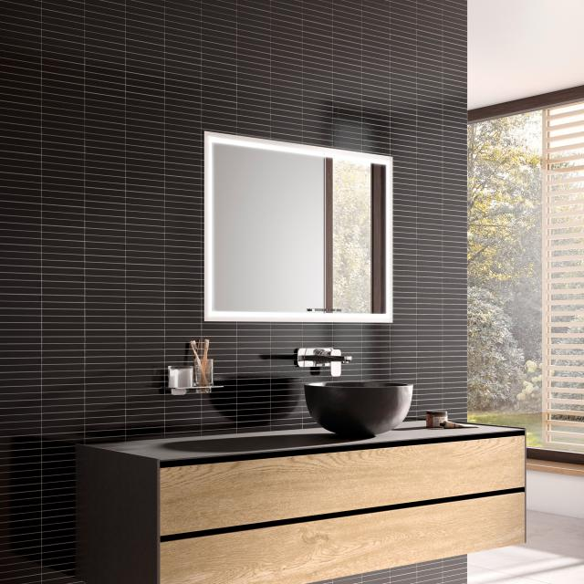 Emco Prestige 2 Unterputz-Lichtspiegelschrank breite Tür links