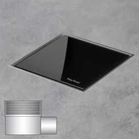 ESS Aqua Jewels Quattro Bodenablauf inklusive Abdeckung, waagerechter Anschluss Glas schwarz, L: 15 B:15 cm