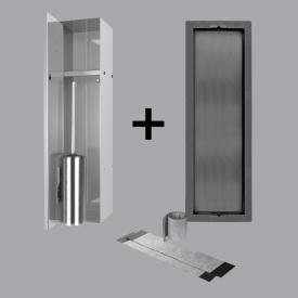 ESS Container T-ROLL Einbau WC - Bürstenhalter und Nische für Nass- und Trockenbau, befliesbar glanzgeschliffenes Edelstahl