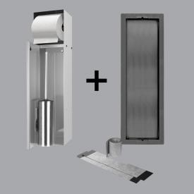 ESS Container T-ROLL Einbau WC - Bürstenhalter und Papierhalter für Nass- und Trokenbau, befliesbar glanzgeschliffenes Edelstahl