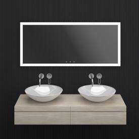 ESS Lugano Spiegel mit LED-Beleuchtung silber matt, ohne Spiegelheizung