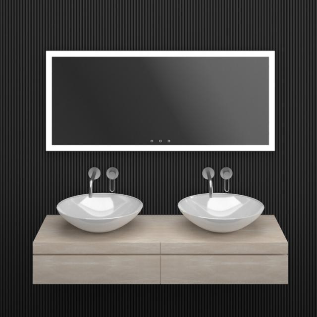 ESS Lugano Spiegel mit LED-Beleuchtung schwarz, ohne Spiegelheizung
