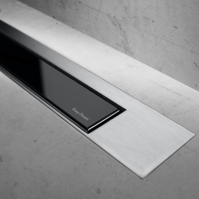 ESS Modulo Design Z-3 Abdeckung für Duschrinne: 80 cm, edelstahl gebürstet/Glas schwarz Glanz