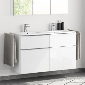 Evineo ineo4 Doppelwaschtisch mit Waschtischunterschrank mit 4 Auszügen und mit Griff Front weiß hochglanz / Korpus weiß hochglanz, weiß
