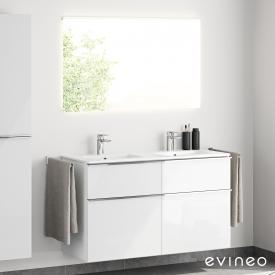 Evineo ineo4 Doppelwaschtisch mit Waschtischunterschrank mit Griff und LED-Spiegel Front weiß hochglanz/verspiegelt / Korpus weiß hochglanz, weiß