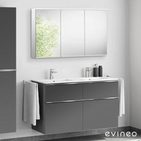 Evineo ineo4 Doppelwaschtisch mit Waschtischunterschrank mit Griff, mit LED-Spiegelschrank Front anthrazit matt/verspiegelt / Korpus anthrazit matt/verspiegelt