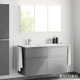 Evineo ineo4 Doppelwaschtisch mit Waschtischunterschrank mit Griff und LED-Spiegelschrank Front anthrazit matt/verspiegelt / Korpus anthrazit matt/verspiegelt, weiß