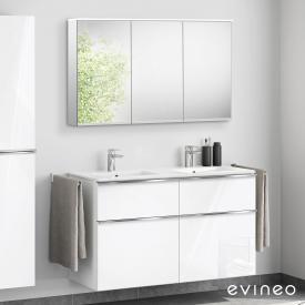 Evineo ineo4 Doppelwaschtisch mit Waschtischunterschrank mit Griff, mit LED-Spiegelschrank Front weiß hochglanz/verspiegelt / Korpus weiß hochglanz/verspiegelt