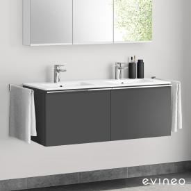 Evineo ineo4 Doppelwaschtisch mit Waschtischunterschrank mit 2 Auszügen, mit Griff Front anthrazit matt / Korpus anthrazit matt