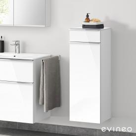 Evineo ineo4 Seitenschrank mit 1 Schublade, 1 Tür, mit Griff Front weiß hochglanz / Korpus weiß hochglanz