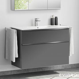 Evineo ineo4 Waschtisch mit Waschtischunterschrank mit 2 Auszügen, mit Griff Front anthrazit matt / Korpus anthrazit matt, weiß