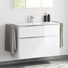 Evineo ineo4 Waschtisch mit Waschtischunterschrank mit 2 Auszügen und mit Griff Front weiß hochglanz / Korpus weiß hochglanz, weiß