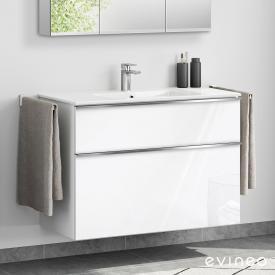 Evineo ineo4 Waschtisch mit Waschtischunterschrank mit 2 Auszügen, mit Griff Front weiß hochglanz / Korpus weiß hochglanz, weiß