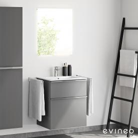 Evineo ineo4 Waschtisch mit Waschtischunterschrank mit Griff und LED-Spiegel Front anthrazit matt/verspiegelt / Korpus anthrazit matt, weiß