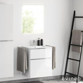 Evineo ineo4 Waschtisch mit Waschtischunterschrank mit Griff und LED-Spiegel Front weiß hochglanz/verspiegelt / Korpus weiß hochglanz, weiß