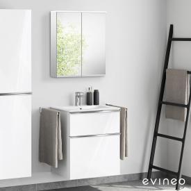 Evineo ineo4 Waschtisch mit Waschtischunterschrank mit Griff, mit LED-Spiegelschrank Front weiß hochglanz/verspiegelt / Korpus weiß hochglanz/verspiegelt