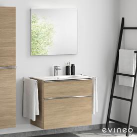 Evineo ineo4 Waschtisch mit Waschtischunterschrank mit Griff und LED-Spiegel Front eiche/verspiegelt / Korpus eiche, weiß