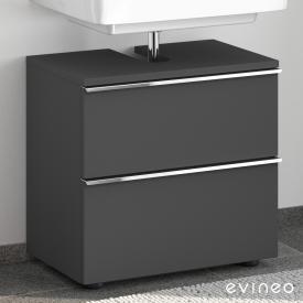 Evineo ineo4 Waschtischunterschrank ohne Waschtischanbindung mit 2 Auszügen, mit Griff Front anthrazit matt / Korpus anthrazit matt