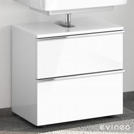 Evineo ineo4 Waschtischunterschrank ohne Waschtischanbindung mit 2 Auszügen, mit Griff Front weiß hochglanz / Korpus weiß hochglanz