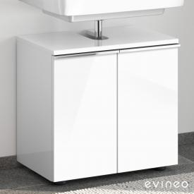 Evineo ineo4 Waschtischunterschrank ohne Waschtischanbindung mit 2 Türen, mit Griff Front weiß hochglanz / Korpus weiß hochglanz