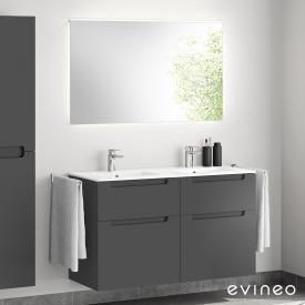 Evineo ineo5 Doppelwaschtisch mit Waschtischunterschrank mit Griffmulde, mit LED-Spiegel Front anthrazit matt/verspiegelt / Korpus anthrazit matt