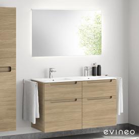 Evineo ineo5 Doppelwaschtisch mit Waschtischunterschrank mit Griffmulde, mit LED-Spiegel Front eiche/verspiegelt / Korpus eiche